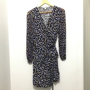 DVF Wrap dress, sheer long sleeves, knee length